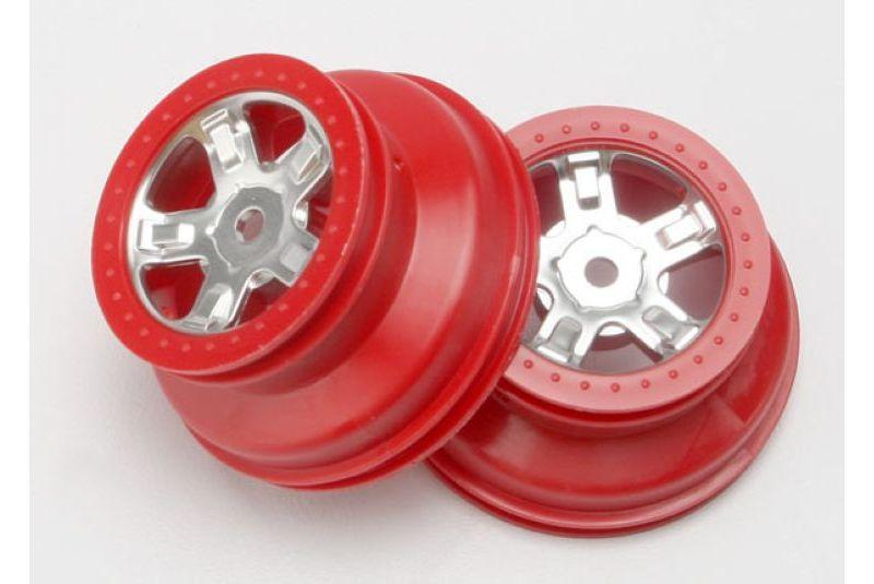 Wheels, SCT satin chrome, red beadlock style, dual profile (1.8-#34  outer, 1.4-#34  inner) (2)